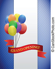 grand opening ribbon card illustration design