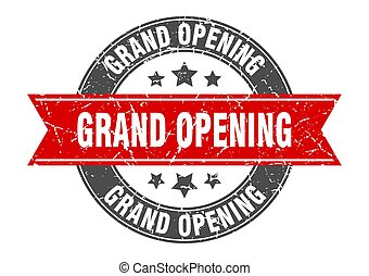 grand opening round stamp with red ribbon. grand opening