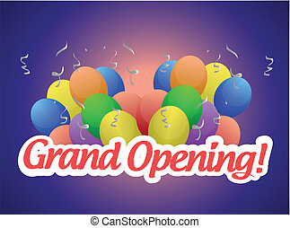 grand opening sign and balloons illustration design over a...