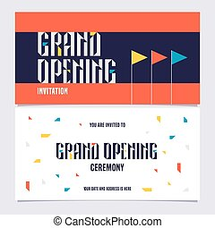 Grand opening sign banner, vector invitation card