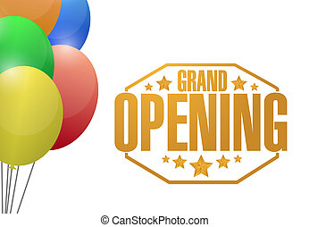 grand opening gold card background illustration design stock rh canstockphoto com  grand opening banner clip art