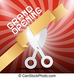 Grand Opening. Silver Scissors Cutting Gold Ribbon on Red Background.
