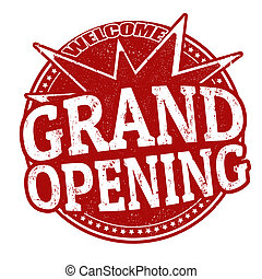 Grand Opening grunge rubber stamp on white, vector illustration