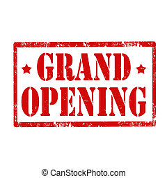 Grand Opening-stamp - Grunge rubber stamp with text Grand...