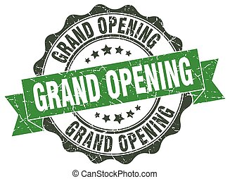 grand opening stamp. sign. seal