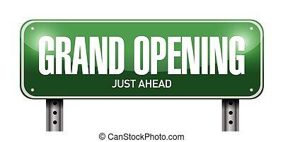grand opening street sign illustration