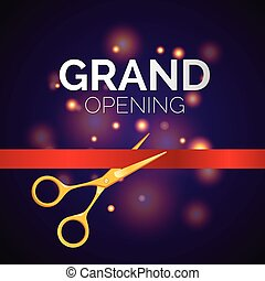 Grand opening template - modern vector illustration on festive background