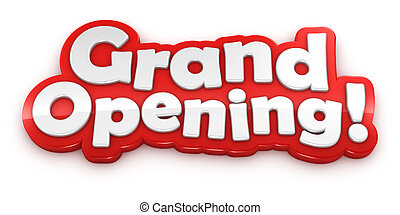 Grand Opening text banner isolated on white background