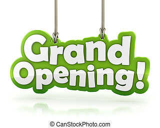 Grand Opening text isolated on white background with...