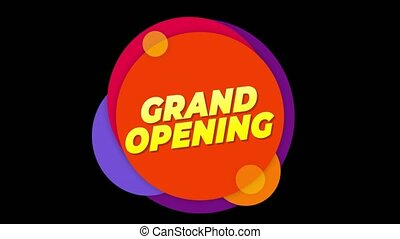 Grand Opening Text Sticker Colorful Sale Popup Animation. - ...
