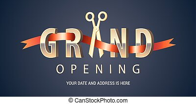 Grand opening vector background. Scissors cutting red ribbon...