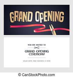 Grand opening vector banner, illustration, invitation card