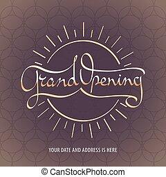 Grand opening vector banner, illustration