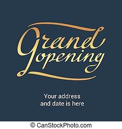 Grand opening vector banner