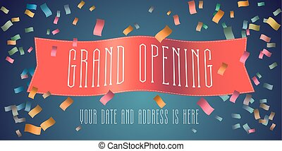 Grand opening vector banner with festive firework and red ribbon