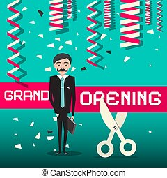 Grand Opening Vector Design with Businessman
