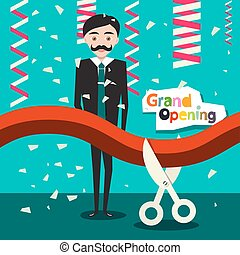 Grand Opening. Vector Flat Design Cartoon with Man in Suit, Red Ribbon, Scissors and Confetti