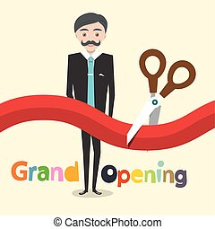 Grand Opening. Vector Flat Design Cartoon with Business Man, Scissors and Red Ribbon.