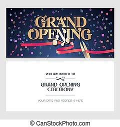 Grand opening vector illustration, background, invitation card