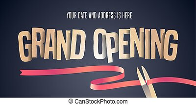Grand opening vector illustration, background with cut out golden sign and scissors cutting red ribbon