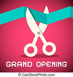 Grand Opening Vector Illustration on Retro Pink Background