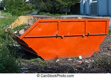 grand, orange, récipient, déchets
