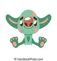 grand, oreilles, monstre vert, joyeux