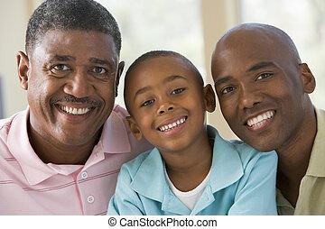 grand-père, adulte, petit-enfant, fils