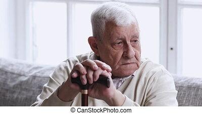 grand-père, canne, seul, prise, asseoir, triste, vieux, ...