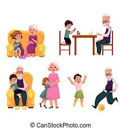 grand-père, dépenser, temps, à, petits-enfants