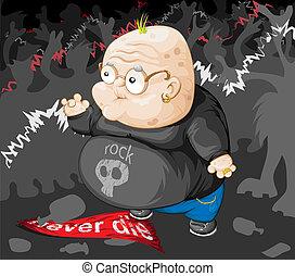 grand-père, de, punk, à, rocher, concer