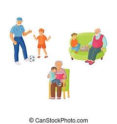grand-père, granddad, dépenser, temps, à, petit-fils