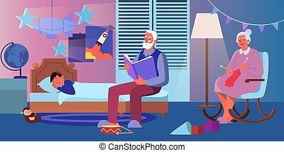 grand-père, livre, petit-fils, sien, vieux, loud., tricot, dehors, dame, lecture