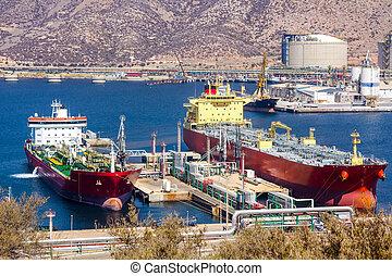 grand, pétrole brut, déchargement, pétroliers