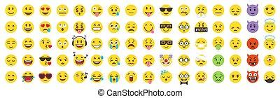 grand, pack., vecteur, emoji, set., emoticon