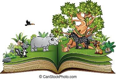 grand, parc, arbre, dessin animé, livre, animal, sous, ouvert, jouer