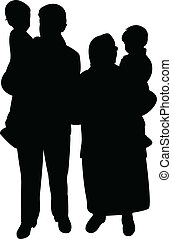 happy family silhouette vector