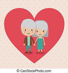 Grand parents design over beige background, vector...