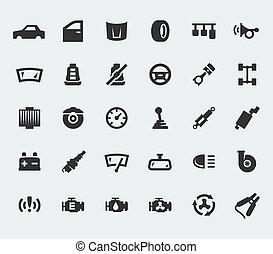 grand, parties voiture, ensemble, icônes