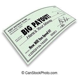 grand, payout, chèque, argent, revenus, salaire, commissions
