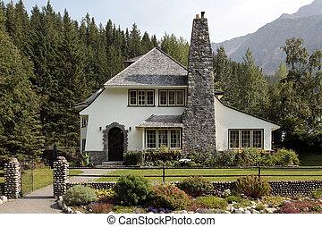 grand, pays, brique, cheminée, maison
