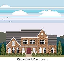 grand, paysage, maison, brique