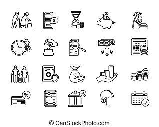 grand, pension, icônes, ensemble, plan