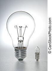 grand, peu, ampoule, ampoule
