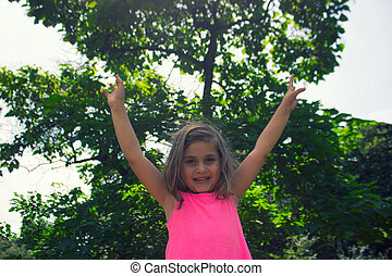 grand, peu, arbre, girl, sous