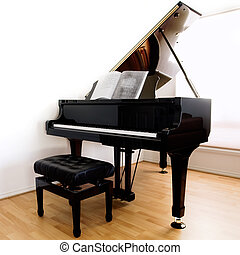 Grand Piano and stool on modern floorboards