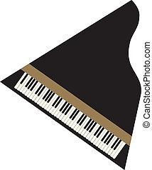 Grand Piano - black grand piano from above, vector image