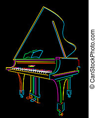 Grand piano - Classical grand piano sketch over black