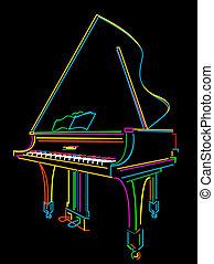 Grand piano - Classical grand piano sketch over black
