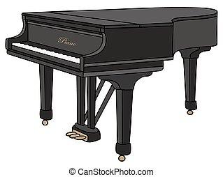 Grand piano - Hand drawing of a black grand piano, closed